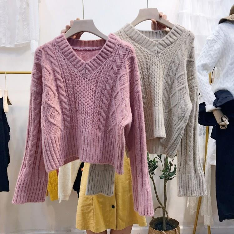 Winter V Neck WoMen Sweater Knitted Twisted Thick Warm Pullover Short College Jumper Women Pink Gray Sweater