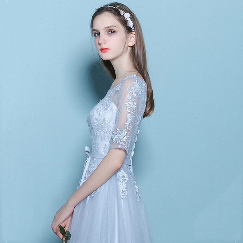 2019 Autumn New Style Lace Bride Formal Dress Greyish Blue Half-sleeve Shirt Crew Neck Slim Fit Slimming Banquet Late Formal Dre