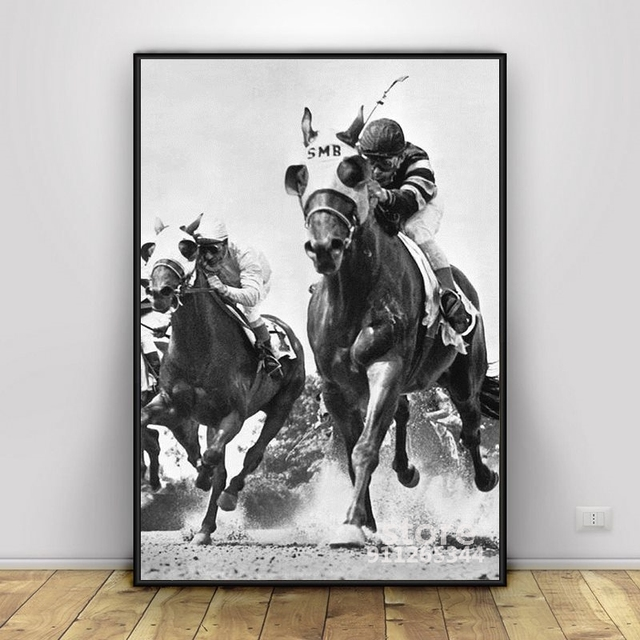 Horse Racing At Belmont Park Classic Poster Decorative Painting Canvas Wall Art Living Room Hanging Painting Bedroom