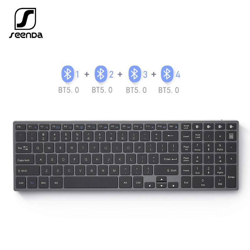 SeenDa Bluetooth Keyboard Aluminium Alloy Multi Device Wireless Rechargeable Russian Wireless Keyboard 4- Device Sync