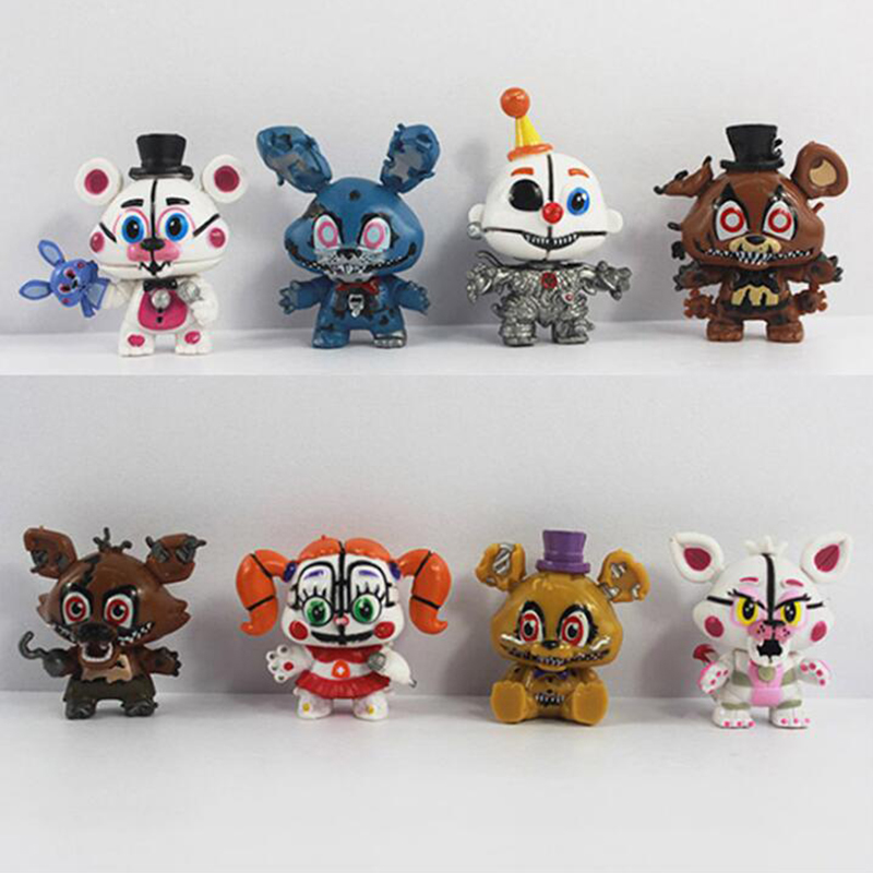 8 Pcs/Set New FNAF Freddy Mini Action Figure Nendoroid 5-6cm PVC Five Nights At Freddys Foxy Bear Anime Figurines Model Toys