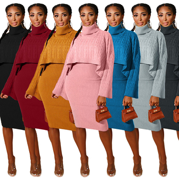 Solid Color Turtleneck Long Sleeves Sweater & Knitting Dress Warm New Arrival Autumn Women Suit Hot Style 2 Pieces Set