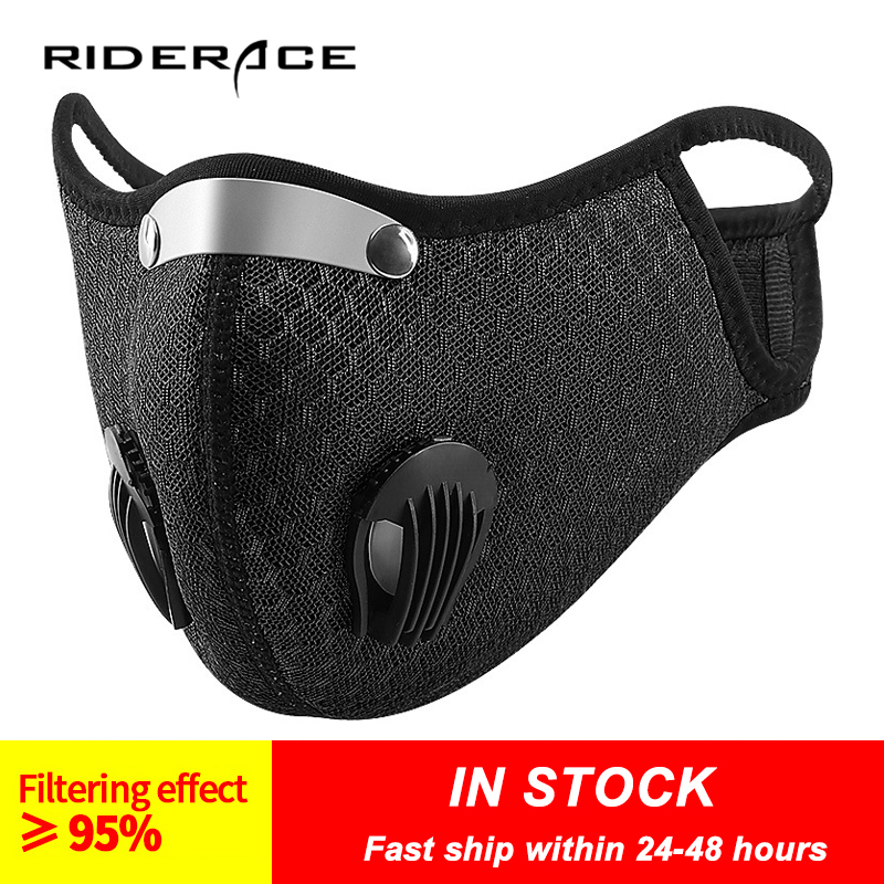 Face Mask With Filter Breathing Valve Activated Carbon PM 2.5 Anti Pollution Bicycle Cycling Sports Protection Bike Dust Mask Cycling Face Mask     - title=