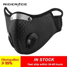 Máscara facial com válvula de respiração filtro carvão ativado pm 2.5 anti poluição bicicleta ciclismo esportes proteção máscara de poeira
