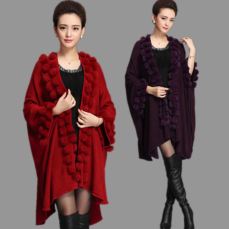 Fashion Trend Women Rabbit Fur Poncho Shawl Coat Long Knit Cashmere Cape Fur Sweater Pashmina Autumn Winter New
