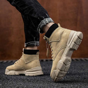 Men's 2020 New Warm Boots Men Winter Shoes Casual Comfortable Fashion PU Leather Boots Lace Up Waterproof Boots Botas Mujer Z2