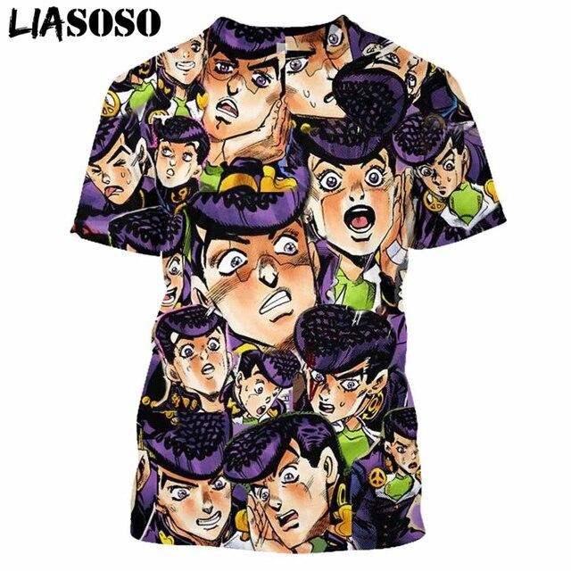 LIASOSO Anime 3D Print T Shirt Men Women Harajuku JoJo's Hip Hop Bizarre Homme Adventur T-shirt Rock Shirts Homme Tshirt E835 2