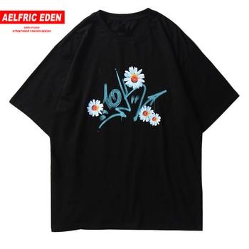 Aelfric Eden, Camiseta holgada con estampado de margaritas y flores de gran tamaño para hombre, verano 2020, Hip Hop, camisetas holgadas Harajuku a la moda, camisetas negras