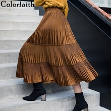 Colorfaith женские юбки осень зима повседневные плиссированные винтажные однотонные разноцветные Бархатные расклешенные длинные юбки с высокой талией SK813