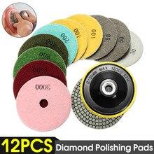 12pcs/Set 4/100mm Abrasive Tools Wet Dry Diamond Polishing Pads Sanding Disc Grinder For Granite Stone Concrete Marble Polisher