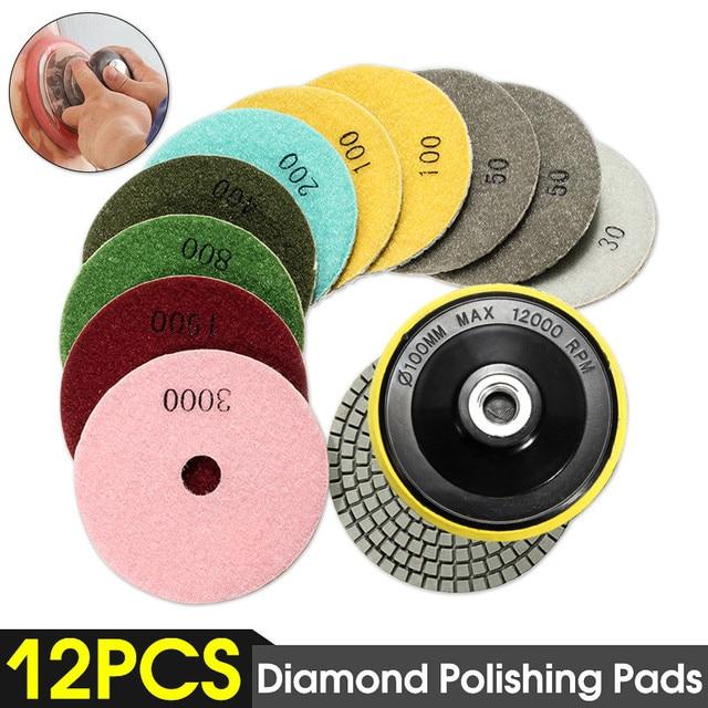 Juego de 12 herramientas abrasivas de 4 /100mm, almohadillas de pulido de diamante en seco y húmedo, amoladora de disco de lijado para piedra de granito, pulidor de mármol y hormigón
