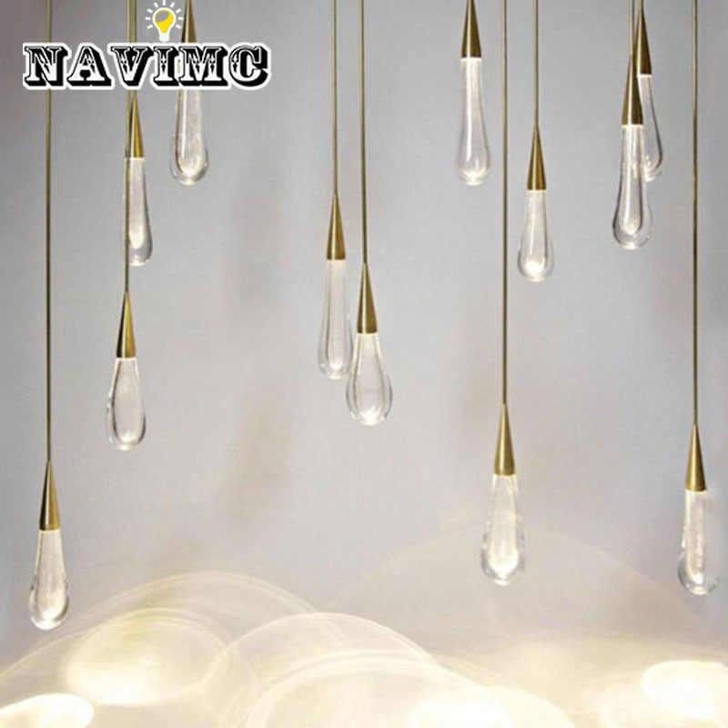 Золотой подвесной светильник в форме капли воды с кристаллами, креативный роскошный светодиодный светильник в европейском стиле, самодельная Подвесная лампа, современное внутреннее освещение, барная лампа