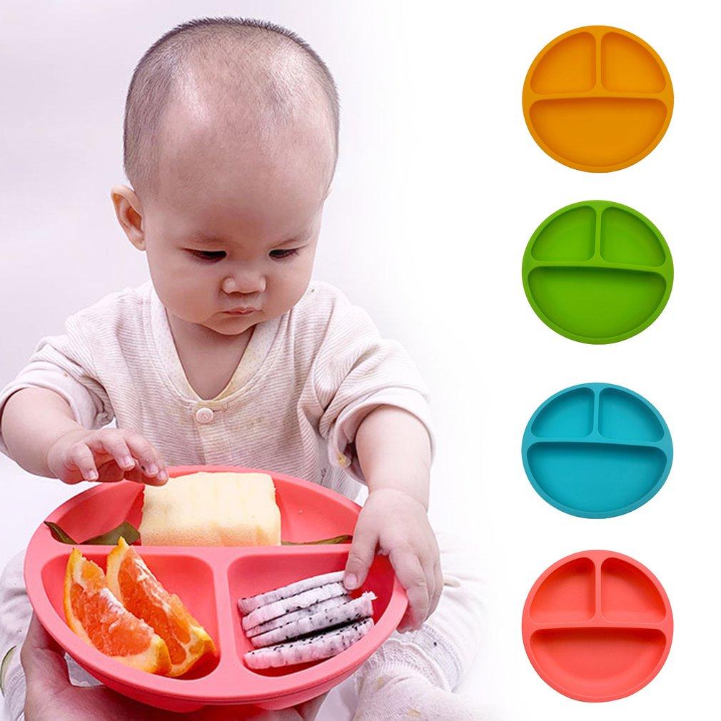 Silicone Baby Dining Dish Tableware Food Storage Tableware Fruit Plates Kids Feeding Plates Bowls Anti-Drop Tray