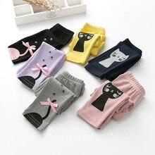 Модные леггинсы для девочек детские длинные штаны с рисунком кота детские штаны хлопковая одежда для девочек