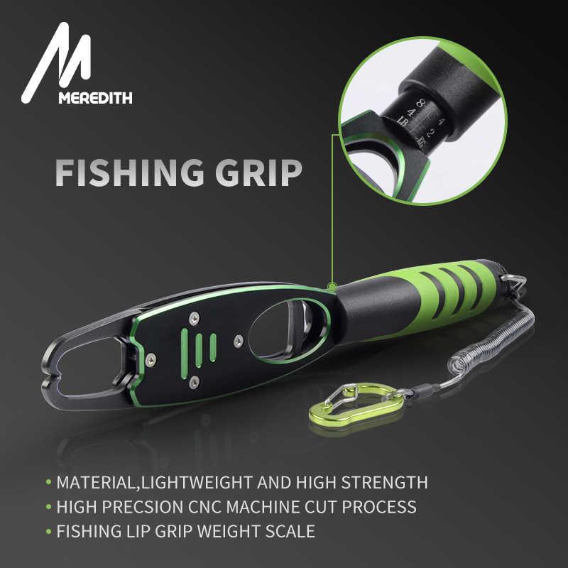 メレディスアルミ合金釣プライヤー分割リングカッター、釣りリップグリップ重量スケールシース & 格納式テザーコンボタックル