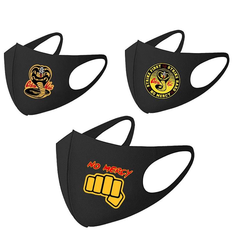 Черная маска COBRA KAI для мужчин и женщин Harajuku Хип-хоп COBRA KAI для мальчиков и девочек, Повседневная Популярная маска для рта Mascarilla Moda