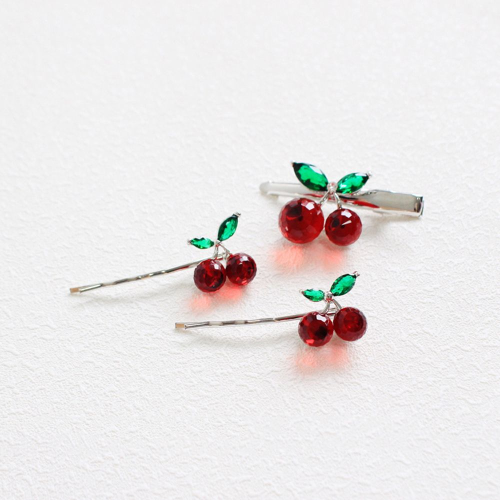 1pc Fashion New Crystal Cherry Fruit  Hair Clip Lovely Sweet Barrette Headdress For Girl Bobby Pin Student Side Bangs Accessorie