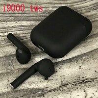 New i9000 tws matte black smart Bluetooth earphones with QI wireless charging 6D heavy bass black earbuds PKi200 i500 i10000 tws