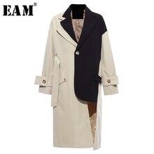[EAM] Женский ассиметричный Тренч цвета хаки большого размера, новая свободная ветровка с отворотом и длинным рукавом, модная осенне-зимняя 1K912