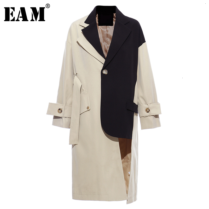 [EAM] Women Khaki Big Size Asymmetrical Trench New Lapel Long Sleeve Loose Fit Windbreaker Fashion Autumn Winter 2020 1K912
