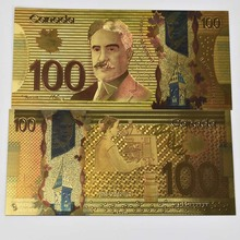 Canadian 100 Dollar Currency Banque Du Canada Souvenir Banknote  Gold Foil Bill