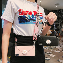 Luxury Cute Leather fashion Lanyard Women Wallet Phone case For