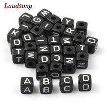 6mm 10mm preto misto carta contas quadrado alfabeto contas de acrílico diy para fazer jóias pulseira colar acessórios