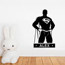 Custom SuperMan Wall Stickers For Kids Personalized Name Door Wall Vinyl Sticker Fashion Super Hero Comics Muraux DIY superman super hero comics