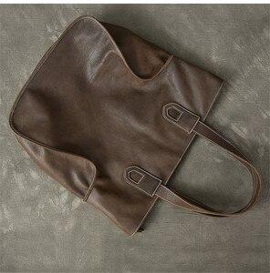 Image 4 - PNDME سعة كبيرة خمر جلد أصلي للرجال حمل حقيبة عارضة بسيطة جلد البقر المتضخم التسوق حقيبة كتف حقيبة يد فاخرة
