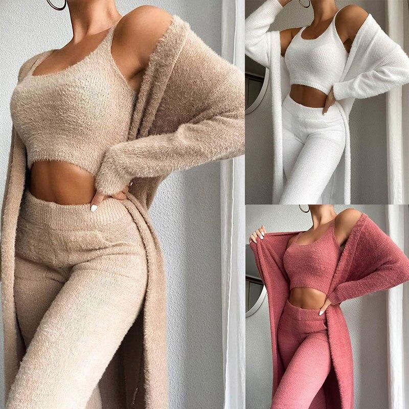 Panie Teddy salon zestaw do noszenia kobiet 3 sztuka dresy polar piżamy sweter