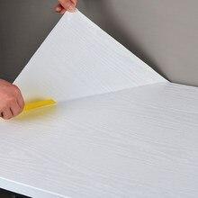 Wokhome auto-adhésif 3D PVC papier peint épais chêne blanc papiers peints étanche meubles rénovation autocollants Grain de bois autocollants