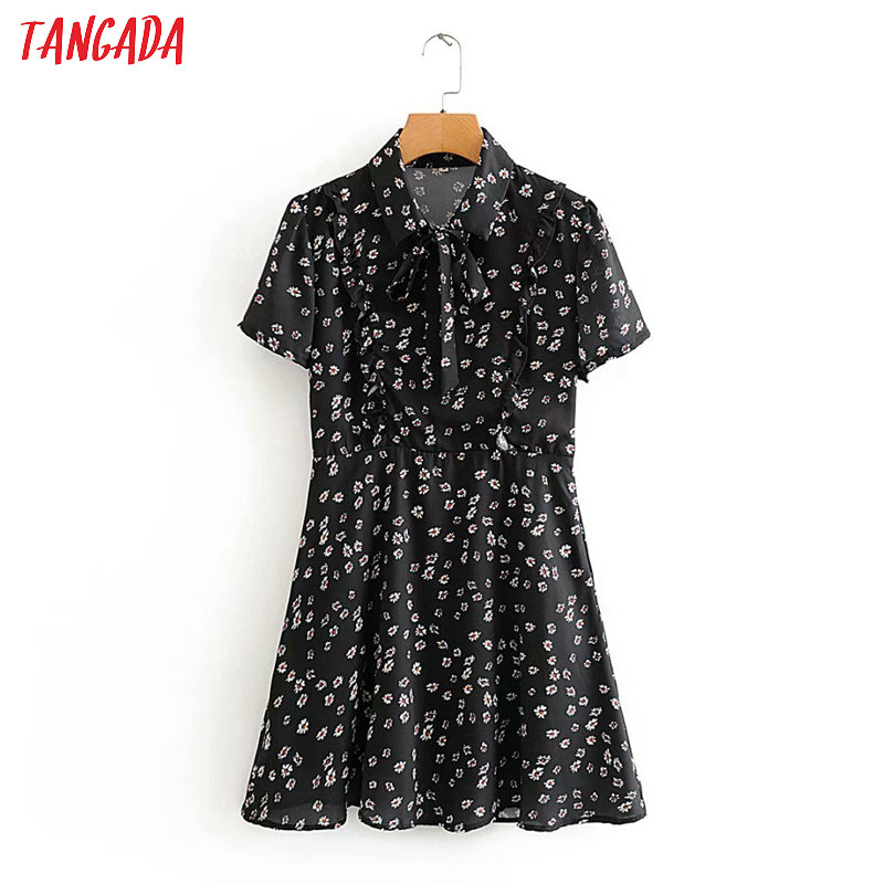 Tangada Women Sweet Flowers Print Dress Bow Turn Down Collar Short Sleeve Ladies Vintage Tunic Summer Dress Vestidos 2J04