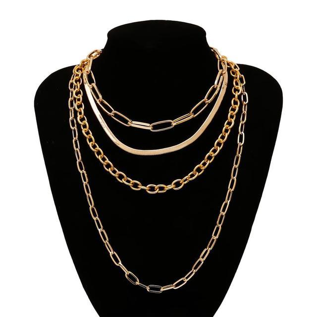 IngeSight.Z 4 pièces/ensemble Multi couches épais Miami gourmette cubaine collier ras du cou gothique couleur or serpent chaîne colliers bijoux