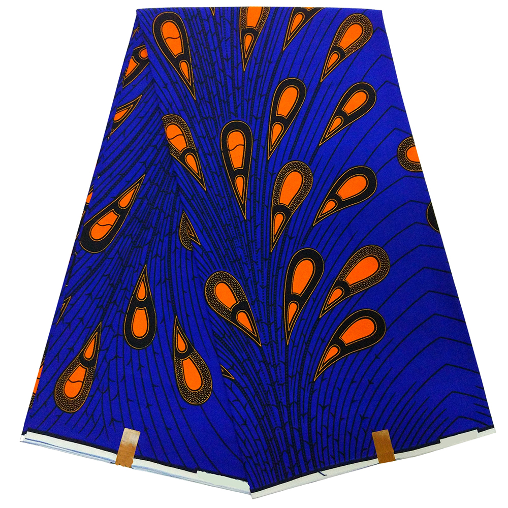 Newest Arrival Guaranteed Real Dutch Wax High Quality Pagne Wax Dutch 6yards African Peacock Feather Print Fabric
