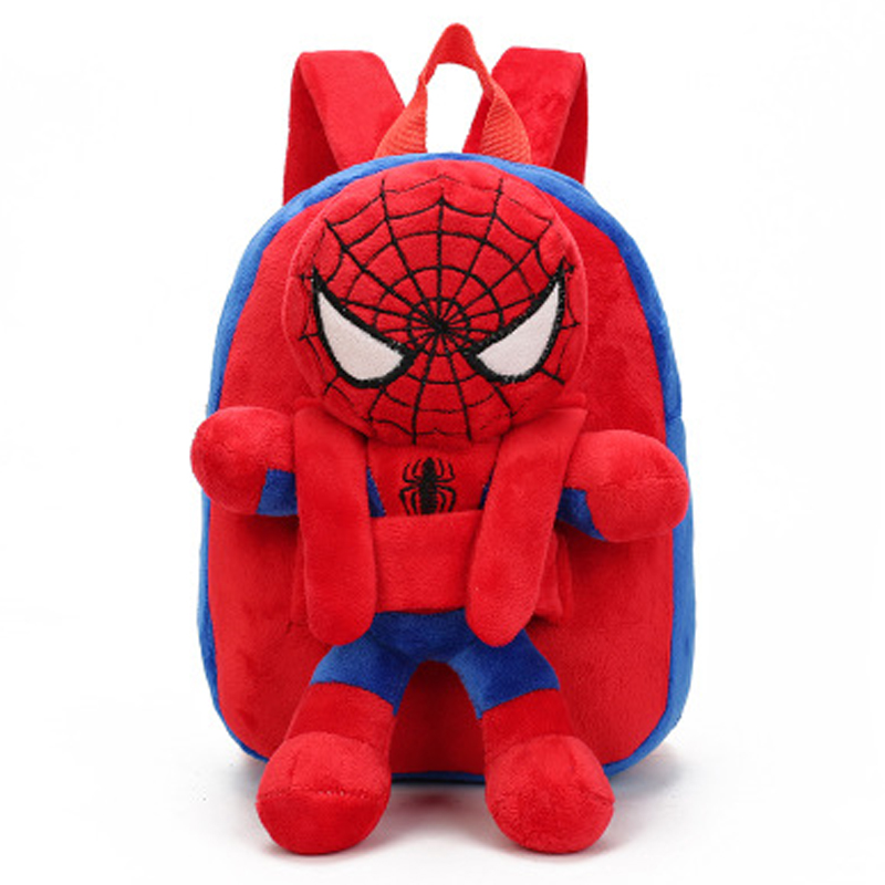 3D Cartoon Mini Plush Batman Spiderman Children Backpacks Schoolbag Kindergarten School Bags For Girls Boys Mochila Escolar