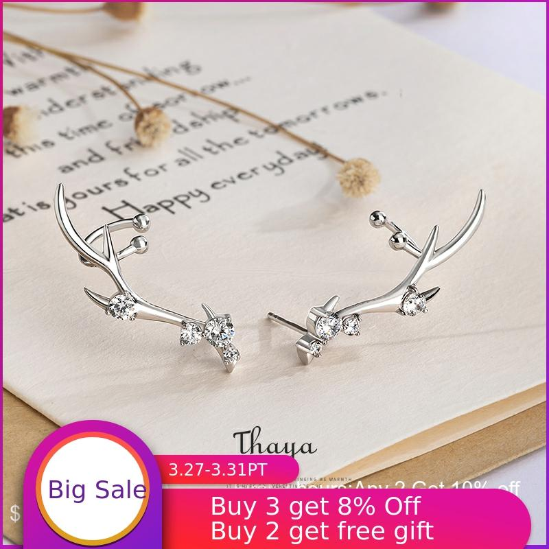 Thaya Silver 925 Jewelry Diamond-studded Zircon Earrings Deer Crown Style Earring For Women Engagement Fine Jewelry