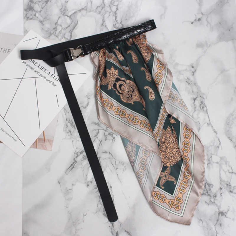 [EAM] шелковый шарф из искусственной кожи с регулировкой, длинный ремень, аксессуары, индивидуальная Женская Новая мода, подходит ко всему, Осень-зима 2019 1B011