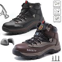 Men's High Top Labor Insurance Shoes Mesh Men Anti smash Safety Shoes Steel Toe Cap Work Protective Trainers Boots Hiking Shoes