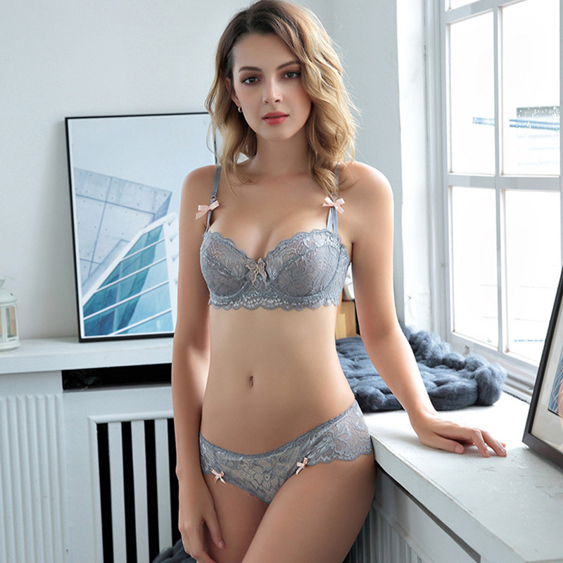 New Arrival Plus size 1/2 Cup Thin Cotton Seamless Unlined Lace Sexy Underwear Half Cup Gather Deep V Transparent Bow Bra Set