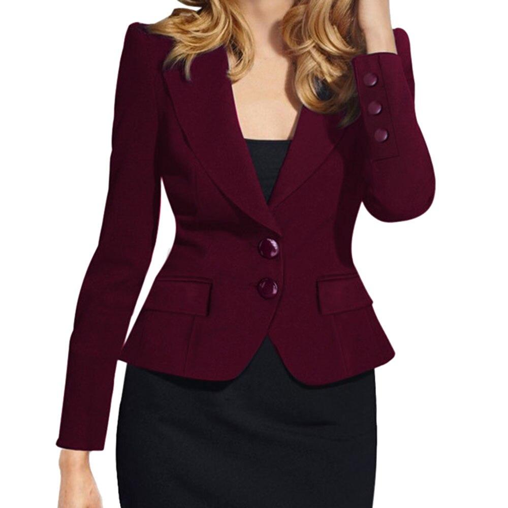 Hot 2019 New Ladies Jacket Suit Collar Solid Slim Fit Long Sleeve Single-Breasted Small Jacket Blazer Female Blazer Women