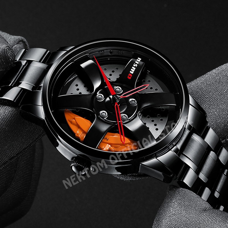 Original Brand Car Wheel Rim Hub Watches Men Super Car Rim Hub Men Watch Stainless Steel Waterproof Quartz Watch For Car GTR
