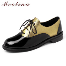 Купить с кэшбэком Meotina Cow Leather Flats Women Shoes Natural Genuine Leather Flat Derby Shoes Mixed Colors Lace Up Round Toe Shoes Ladies 34-39