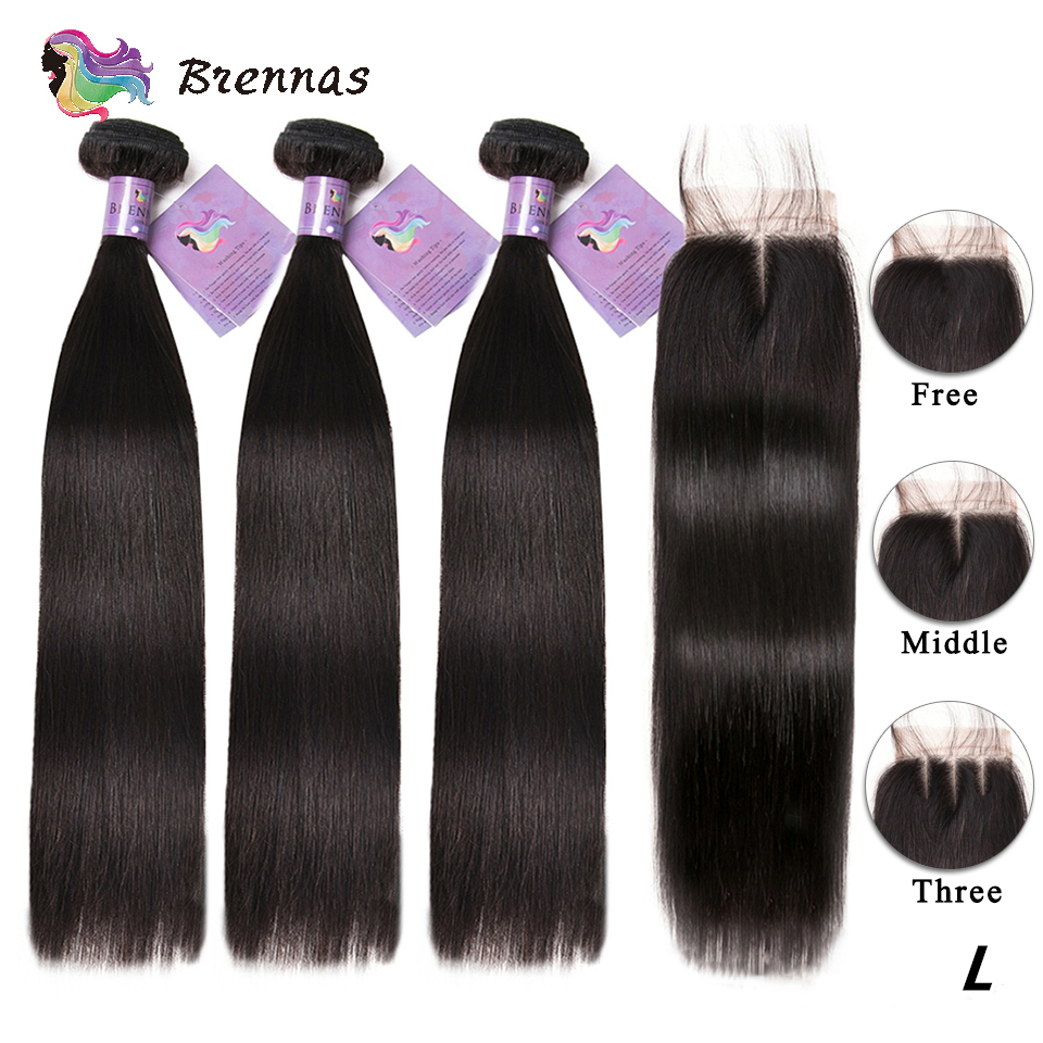 Straight Human Hair Bundles With Closure Brazilian Hair Weaving 4x4 Lace Closure Low Ratio Natural Color Non-Remy Hair 8''-26''
