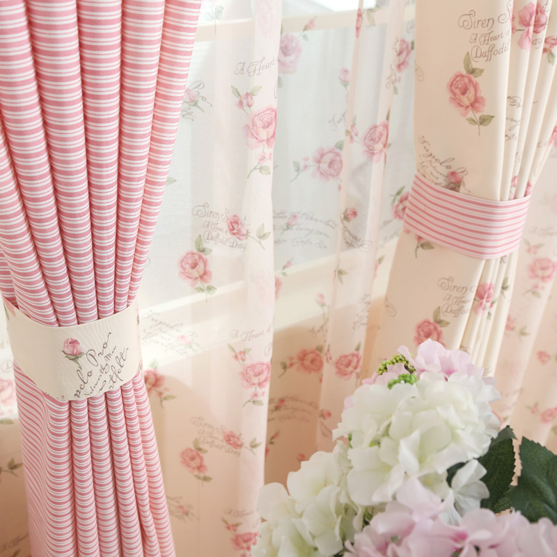 Korean American Cotton Fresh Pastoral Shading Curtains for Living Dining Room Bedroom.