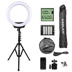 Светодиодный кольцевой светильник, 16-дюймовая лампа с регулируемой яркостью, на аккумуляторах, для фотостудии, фото-и видеосъемки, со штати...