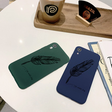 Candy Color Phone Case Coque For iPhone xr 7 8 6 6S Plus x XS MAX 5 5S Luxury Feather Pen Phone Cover For iPhone 8 7 Plus heart shaped camera hole phone case for iphone 7 6s 5 candy color ultra thin scrub for iphone 6 7 8 plus phone cases capa coque