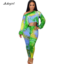 Fashion Tie Dye Print Tracksuit Women Casual T Shirt Crop With Pencil Pants Two Piece Set Sexy Off Shoulder Sports Sets