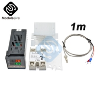 REX-C100 Digital PID Temperature Controller Thermostat Relay output + Max.40A SSR Relay+ K Thermocouple Probe High Quality RKC