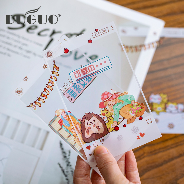 DUGUO Cute Stationery PET Notes Stickers Fresh And Simple Transparent Photo Frame Hand Account Material Stickers Kawaii Supplies