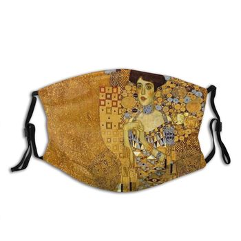 Adele Bloch-Bauer Mouth Face Mask Gustav Klimt Anti Haze Dust Mask With Filters Protection Cover Respirator Mouth Muffle image